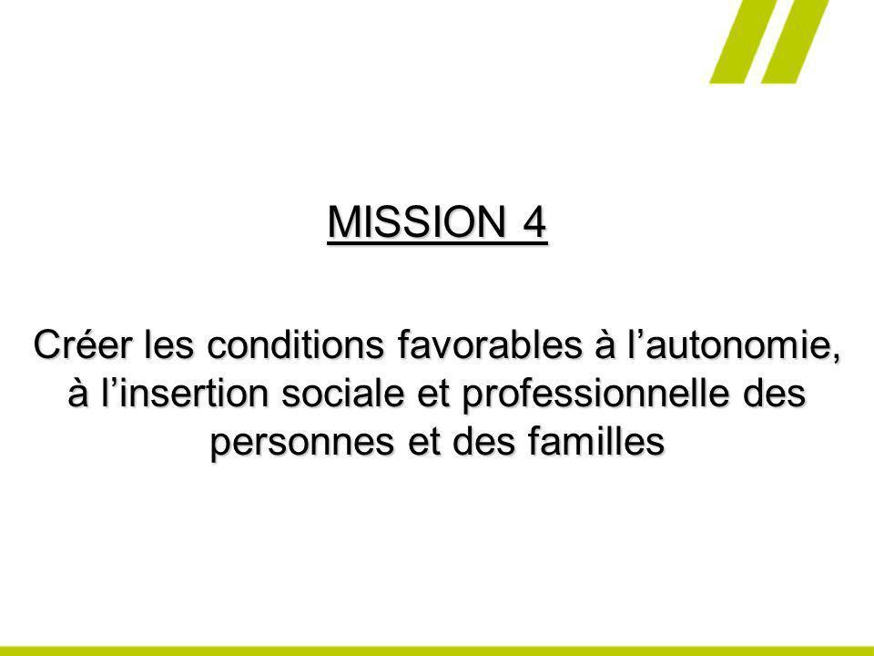 MISSION 4 Créer les conditions favorables à l'autonomie, à l'insertion sociale et professionnelle des personnes et des familles.