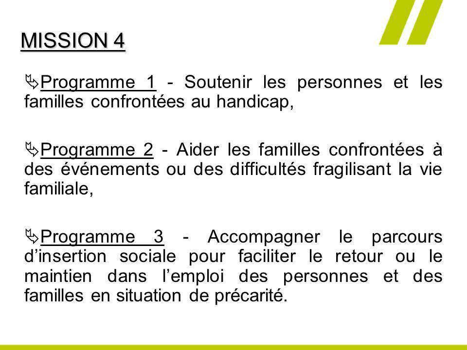 MISSION 4 Programme 1 - Soutenir les personnes et les familles confrontées au handicap,