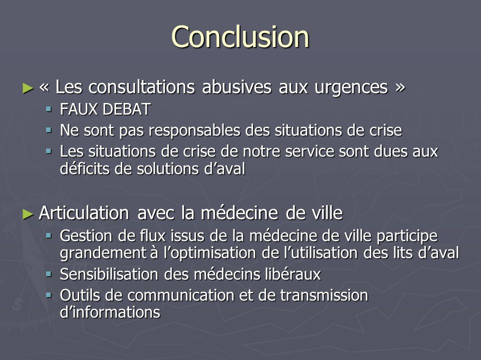 Conclusion « Les consultations abusives aux urgences »