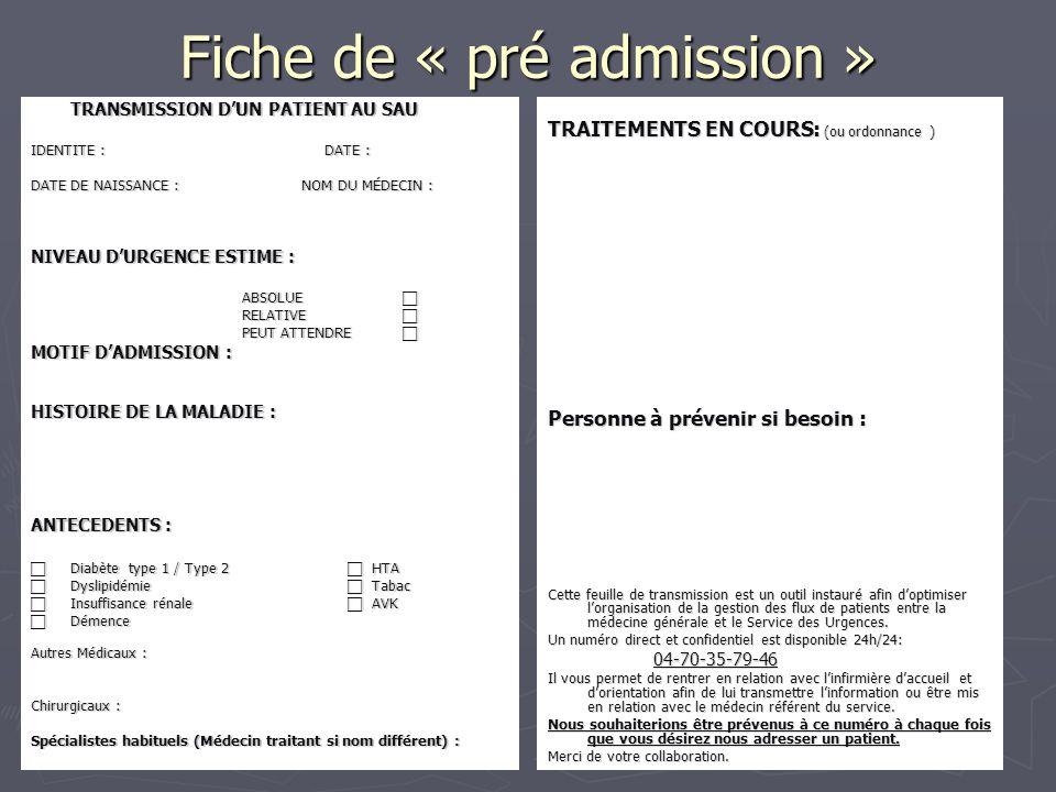 Fiche de « pré admission »