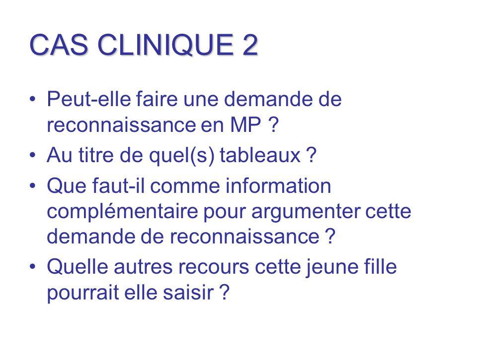 CAS CLINIQUE 2 Peut-elle faire une demande de reconnaissance en MP