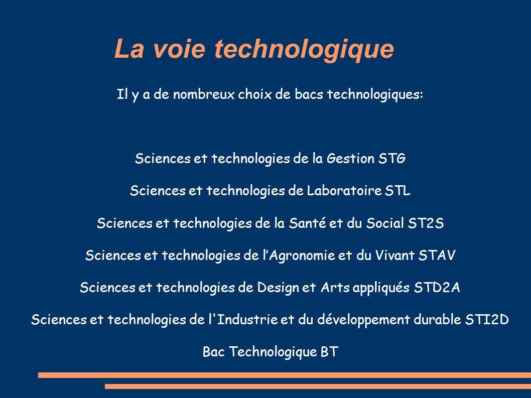 La voie technologique Il y a de nombreux choix de bacs technologiques: