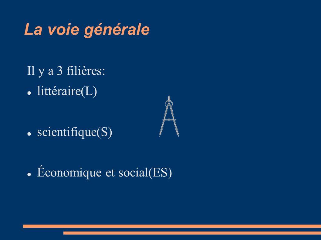 La voie générale Il y a 3 filières: littéraire(L) scientifique(S)