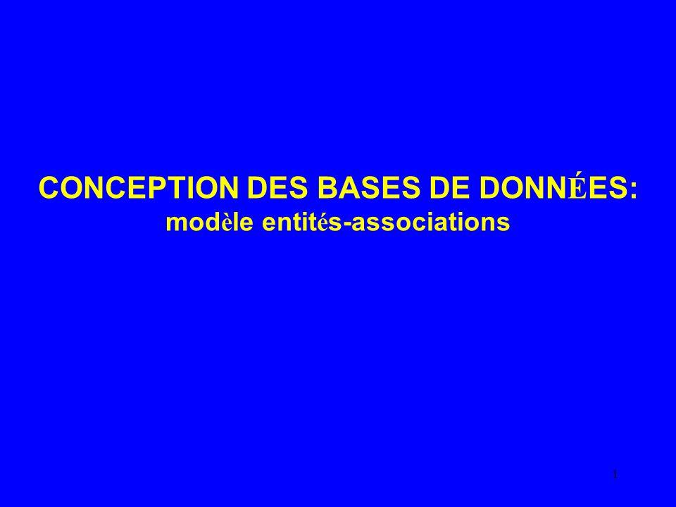 CONCEPTION DES BASES DE DONNÉES: modèle entités-associations