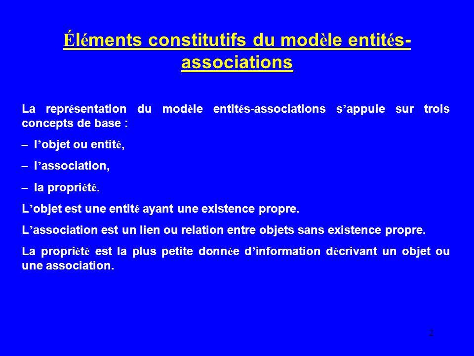 Éléments constitutifs du modèle entités-associations