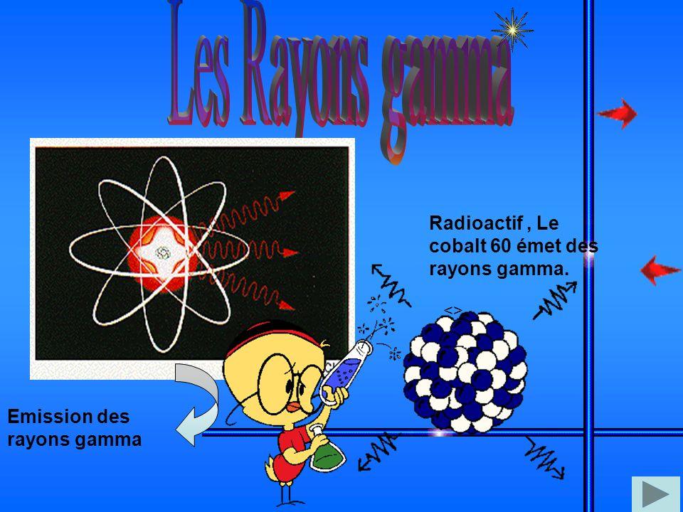 Les Rayons gamma Radioactif , Le cobalt 60 émet des rayons gamma.