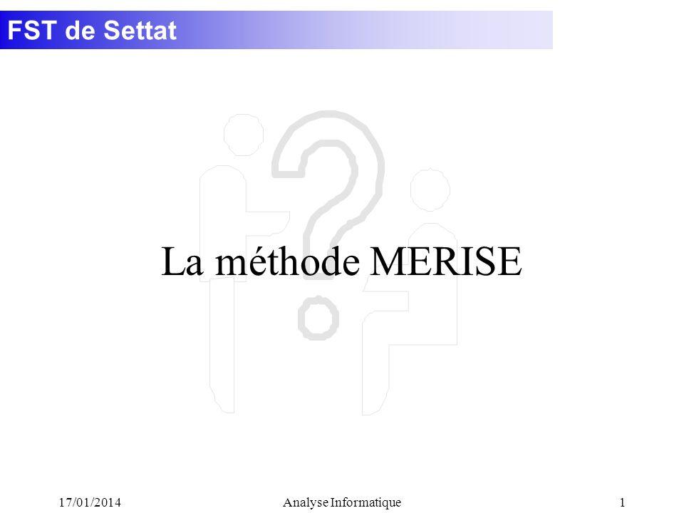 La méthode MERISE 26/03/2017 Analyse Informatique