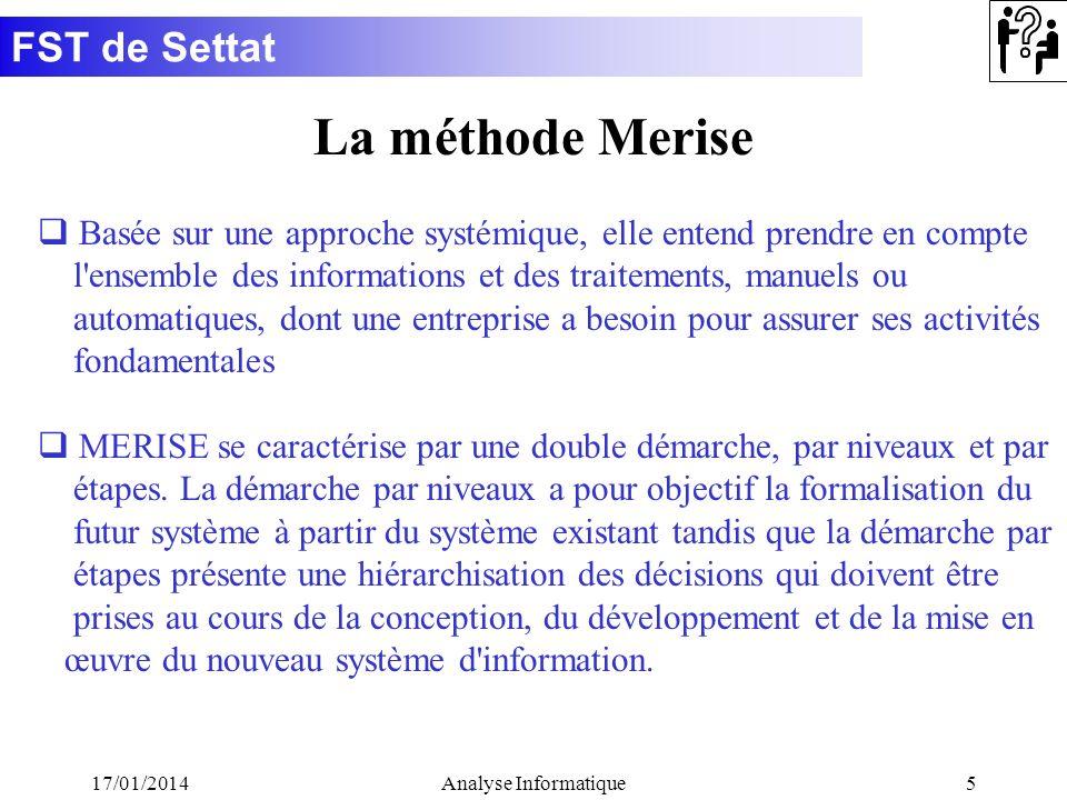 La méthode Merise Basée sur une approche systémique, elle entend prendre en compte. l ensemble des informations et des traitements, manuels ou.