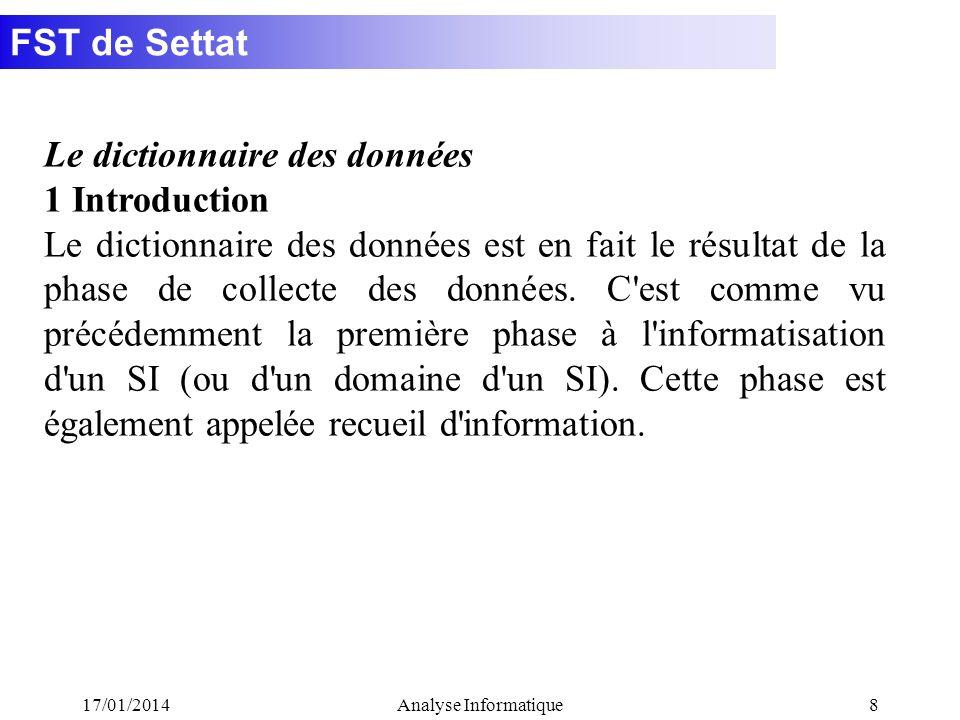 Le dictionnaire des données 1 Introduction