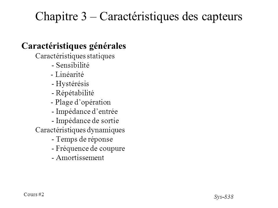 Chapitre 3 – Caractéristiques des capteurs