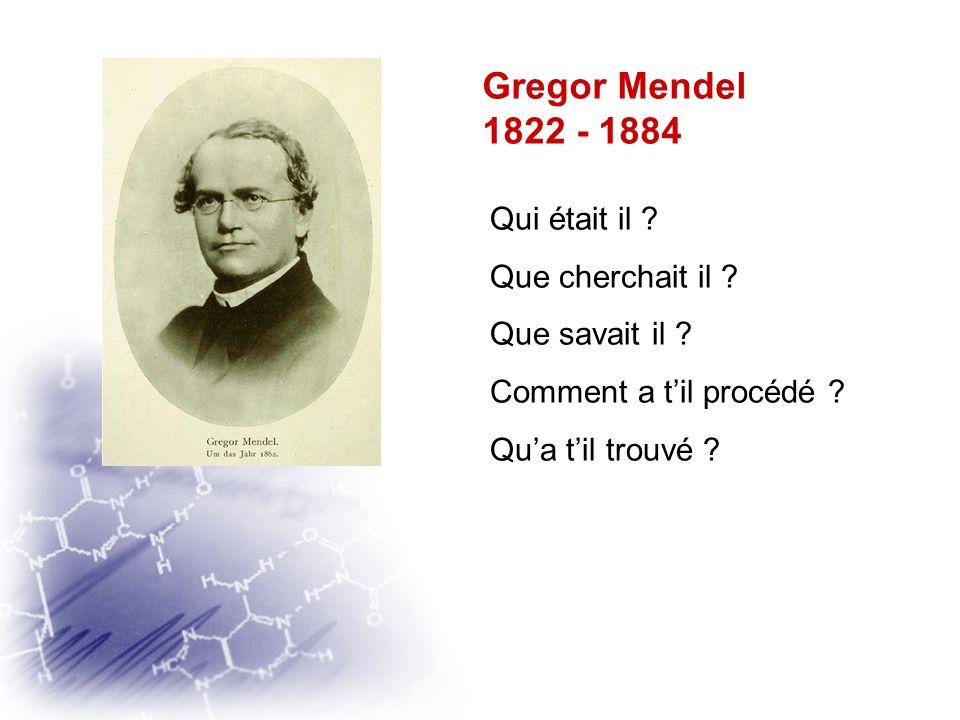 Gregor Mendel 1822 - 1884 Qui était il Que cherchait il
