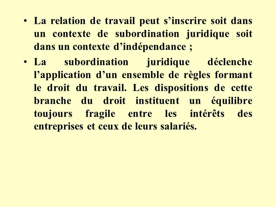 La relation de travail peut s'inscrire soit dans un contexte de subordination juridique soit dans un contexte d'indépendance ;