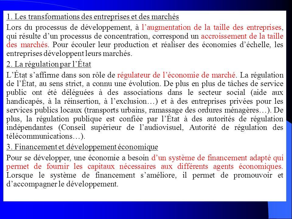 1. Les transformations des entreprises et des marchés