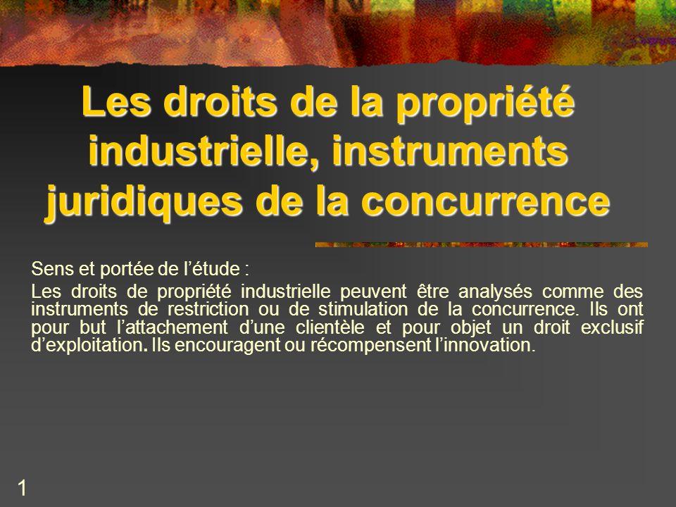 Les droits de la propriété industrielle, instruments juridiques de la concurrence