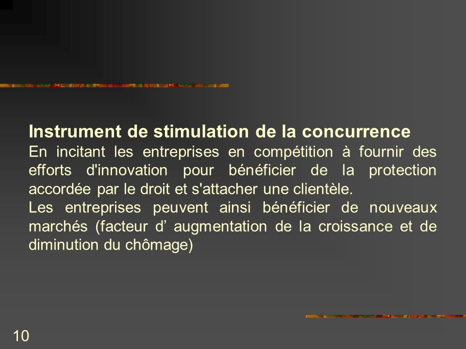 Instrument de stimulation de la concurrence