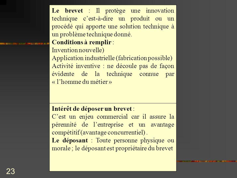 Le brevet : Il protège une innovation technique c'est-à-dire un produit ou un procédé qui apporte une solution technique à un problème technique donné.