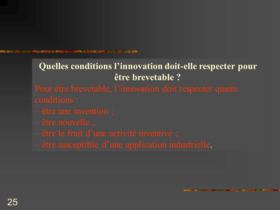 Quelles conditions l'innovation doit-elle respecter pour être brevetable