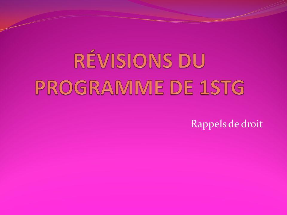 RÉVISIONS DU PROGRAMME DE 1STG