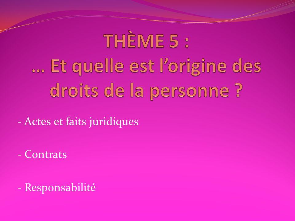 THÈME 5 : … Et quelle est l'origine des droits de la personne