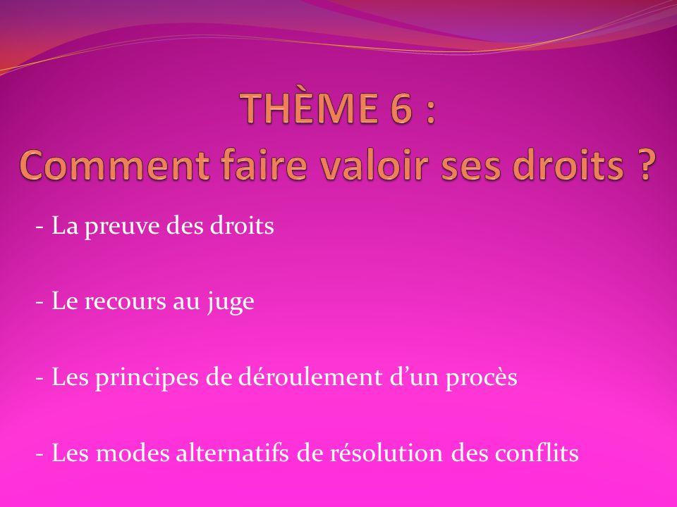 THÈME 6 : Comment faire valoir ses droits