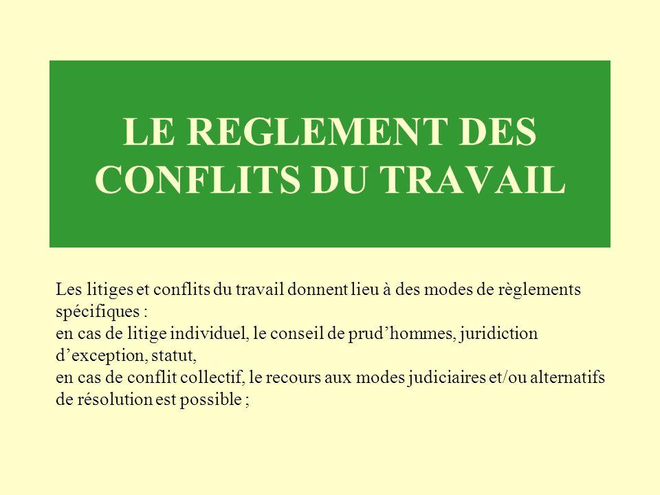LE REGLEMENT DES CONFLITS DU TRAVAIL