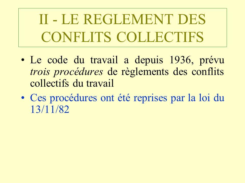 II - LE REGLEMENT DES CONFLITS COLLECTIFS