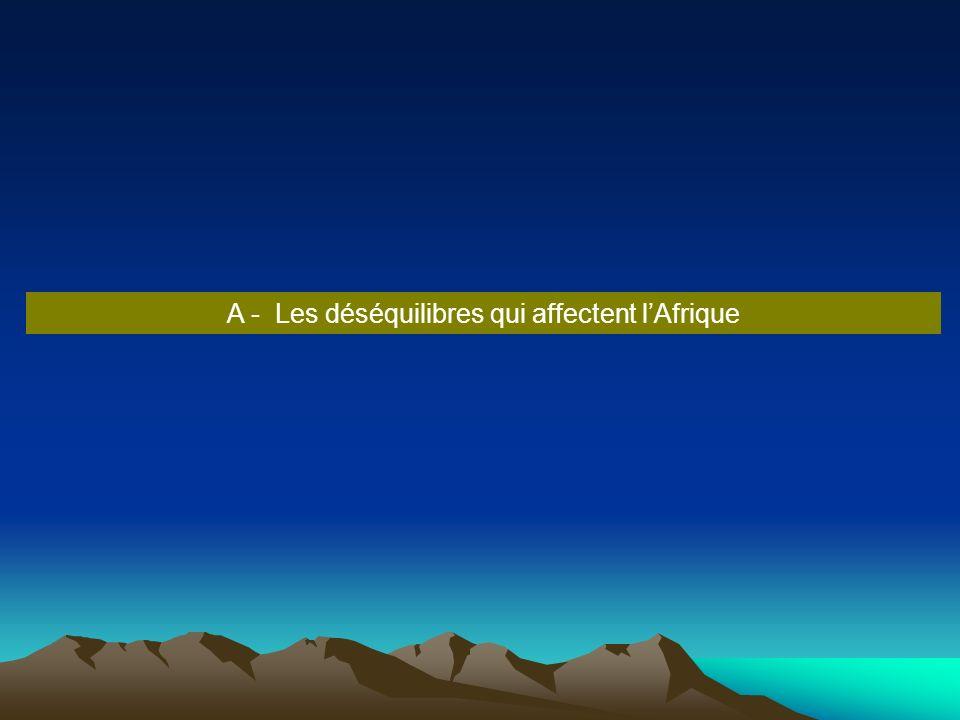 A - Les déséquilibres qui affectent l'Afrique