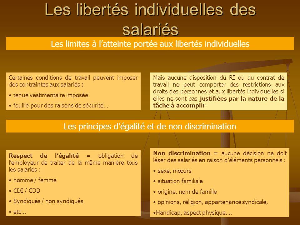 Les libertés individuelles des salariés