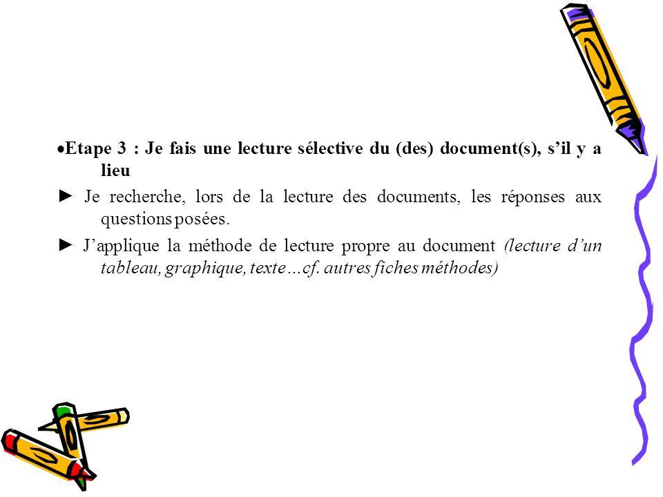 Etape 3 : Je fais une lecture sélective du (des) document(s), s'il y a lieu
