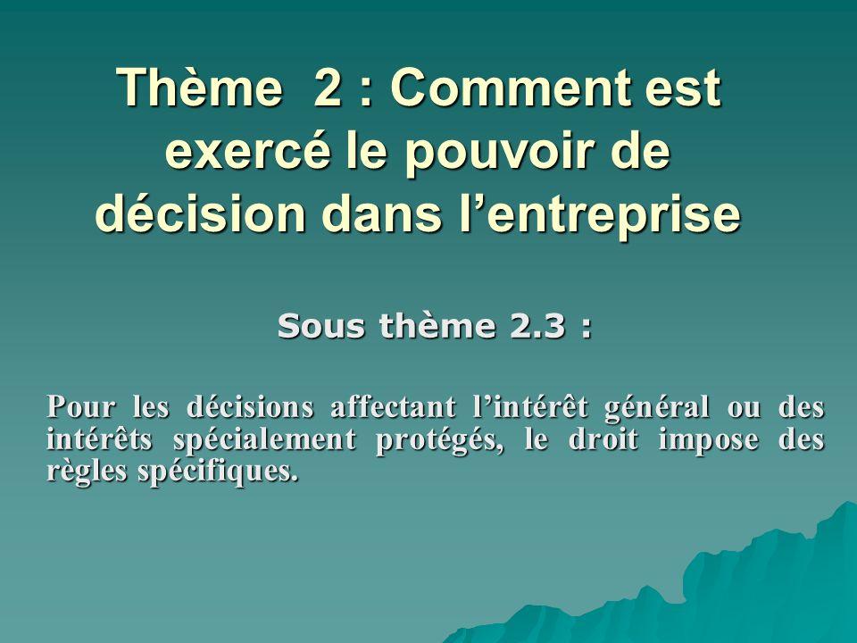 Thème 2 : Comment est exercé le pouvoir de décision dans l'entreprise