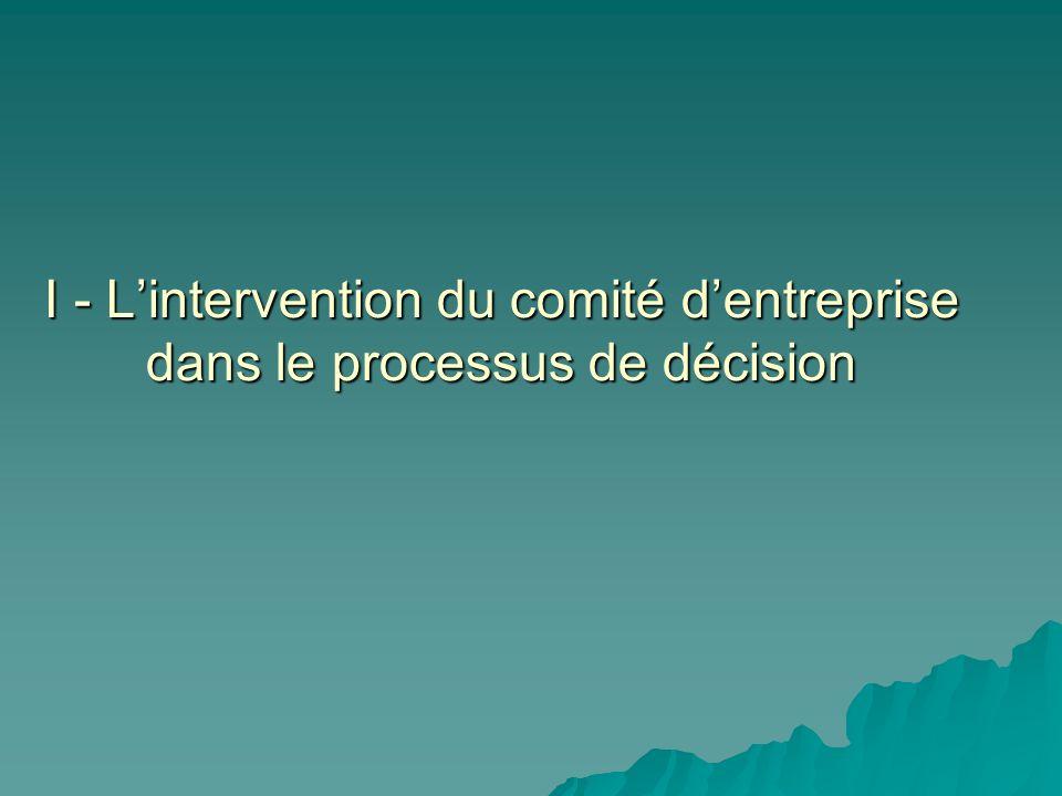 I - L'intervention du comité d'entreprise dans le processus de décision