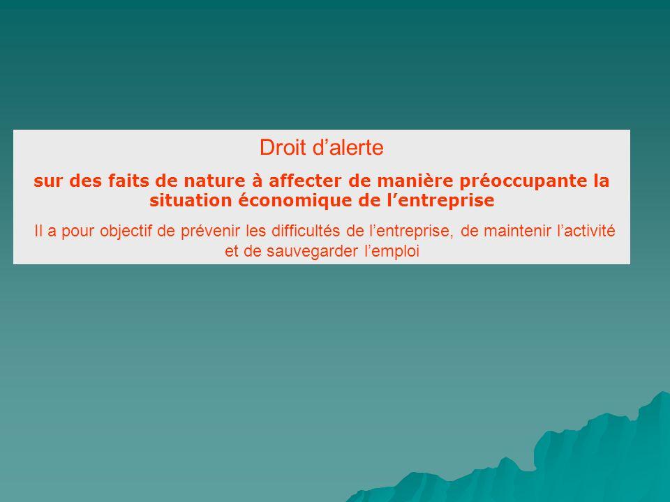 Droit d'alerte sur des faits de nature à affecter de manière préoccupante la situation économique de l'entreprise.
