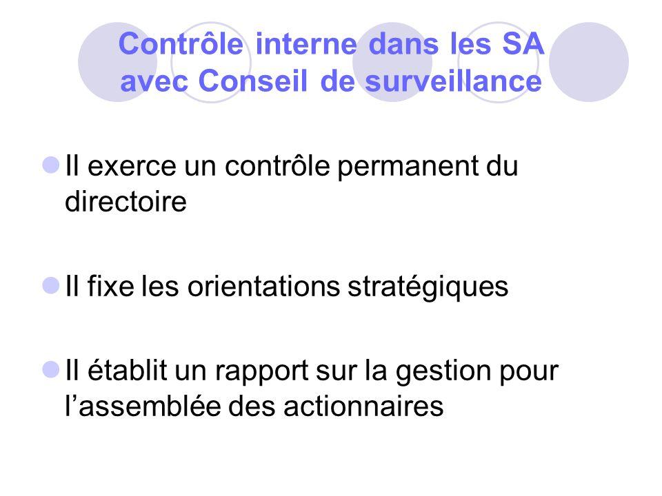 Contrôle interne dans les SA avec Conseil de surveillance