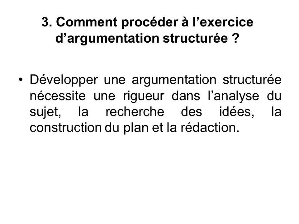 3. Comment procéder à l'exercice d'argumentation structurée