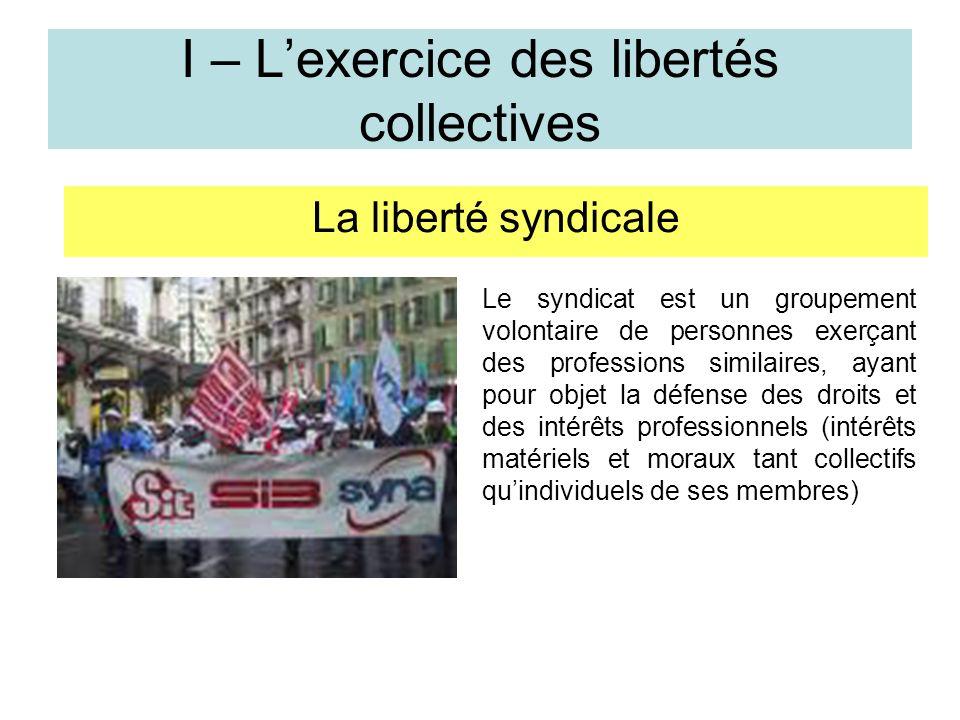 I – L'exercice des libertés collectives