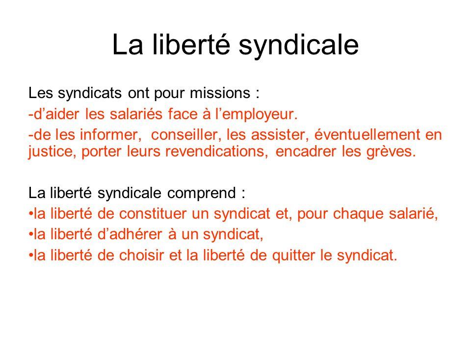 La liberté syndicale Les syndicats ont pour missions :