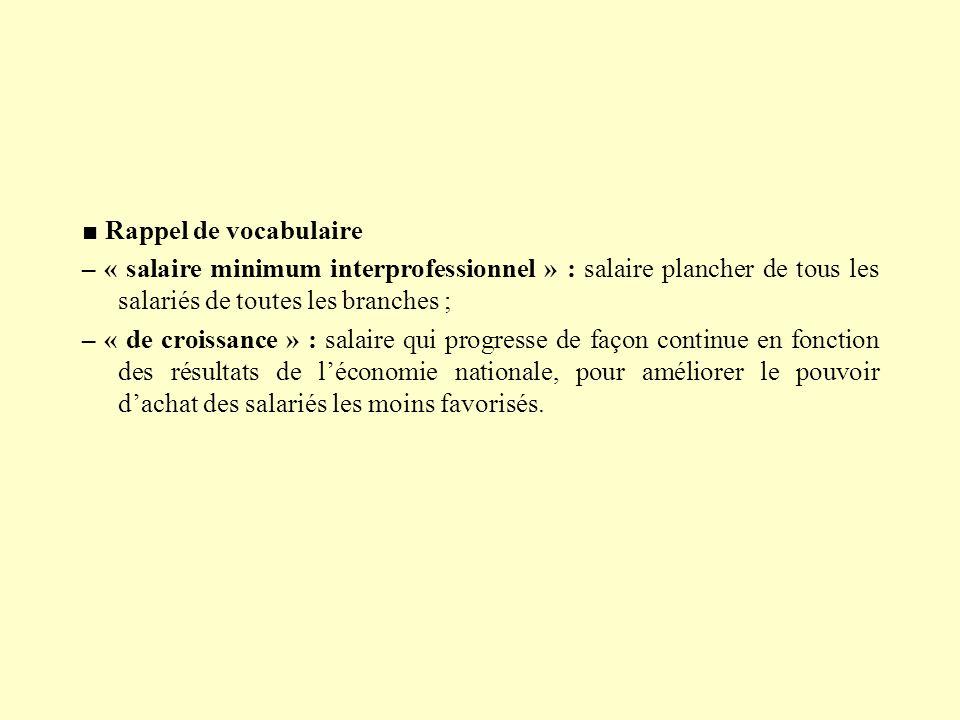 ■ Rappel de vocabulaire