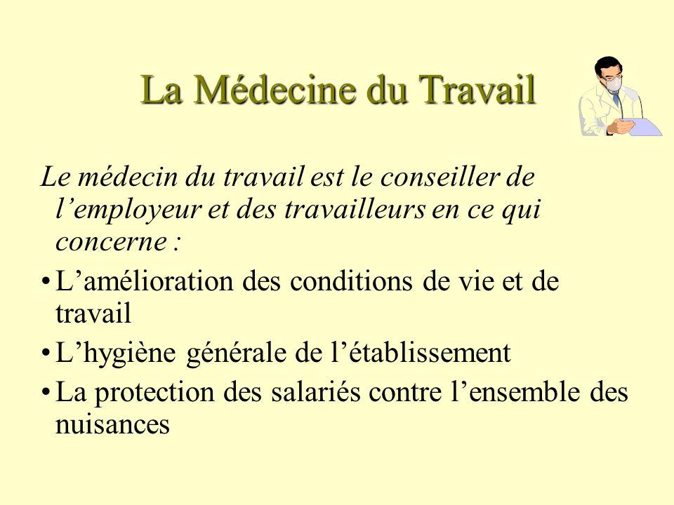 La Médecine du Travail Le médecin du travail est le conseiller de l'employeur et des travailleurs en ce qui concerne :