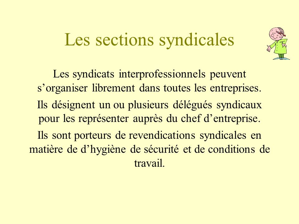 Les sections syndicales