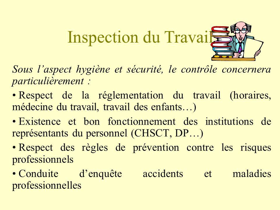 Inspection du Travail Sous l'aspect hygiène et sécurité, le contrôle concernera particulièrement :