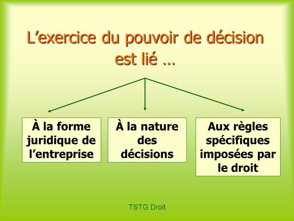 L'exercice du pouvoir de décision est lié …