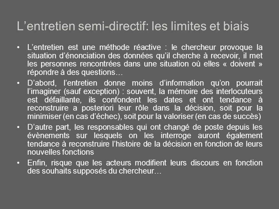 L'entretien semi-directif: les limites et biais