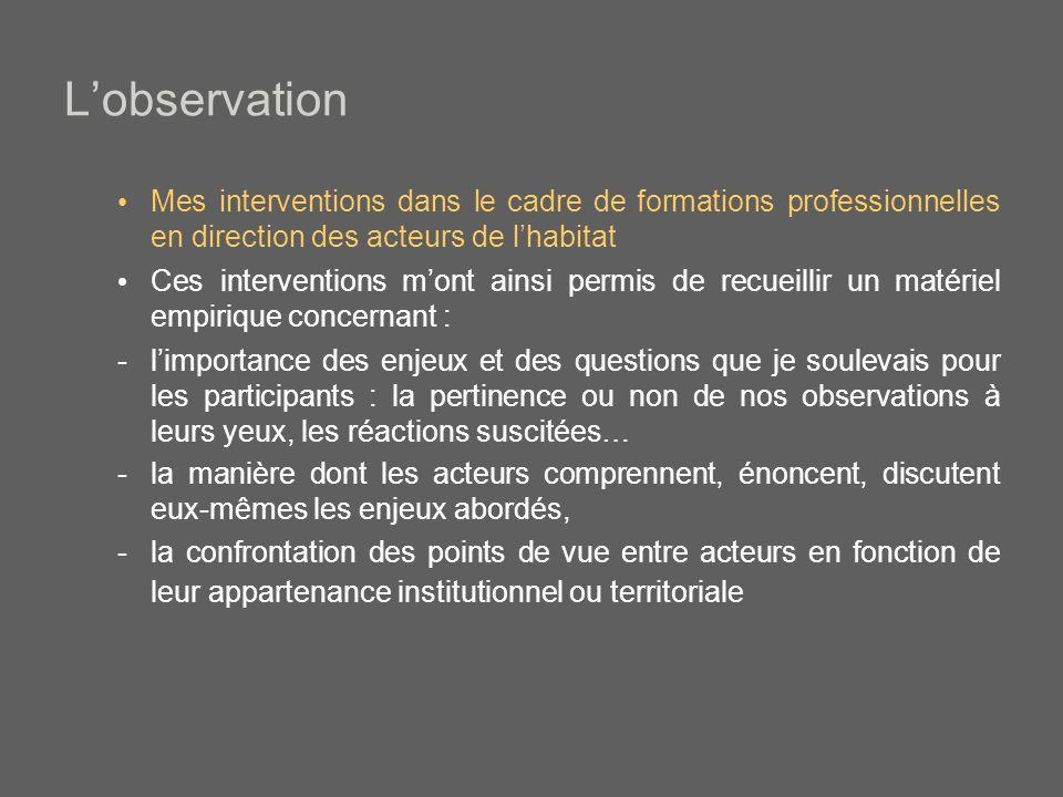 L'observation Mes interventions dans le cadre de formations professionnelles en direction des acteurs de l'habitat.