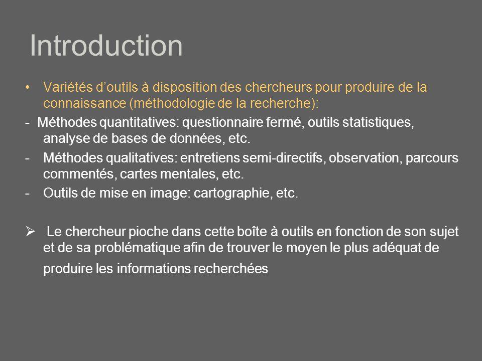 Introduction Variétés d'outils à disposition des chercheurs pour produire de la connaissance (méthodologie de la recherche):