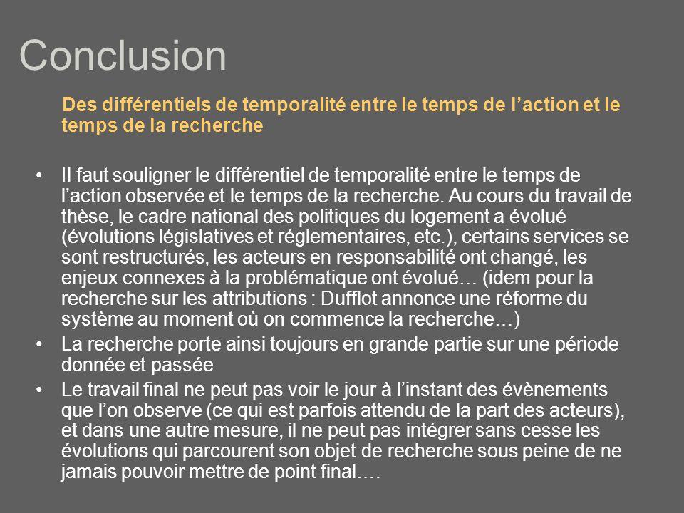 Conclusion Des différentiels de temporalité entre le temps de l'action et le temps de la recherche.