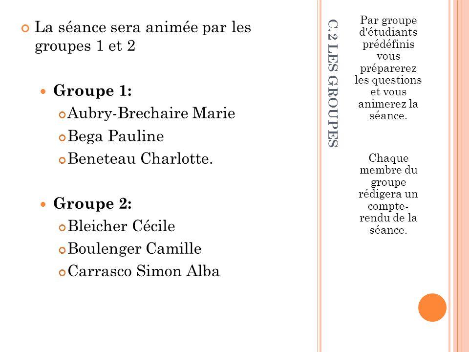 Chaque membre du groupe rédigera un compte- rendu de la séance.