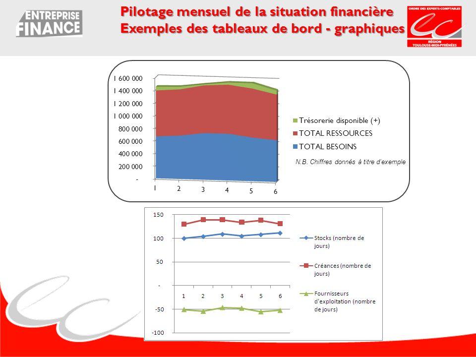 Pilotage mensuel de la situation financière Exemples des tableaux de bord - graphiques