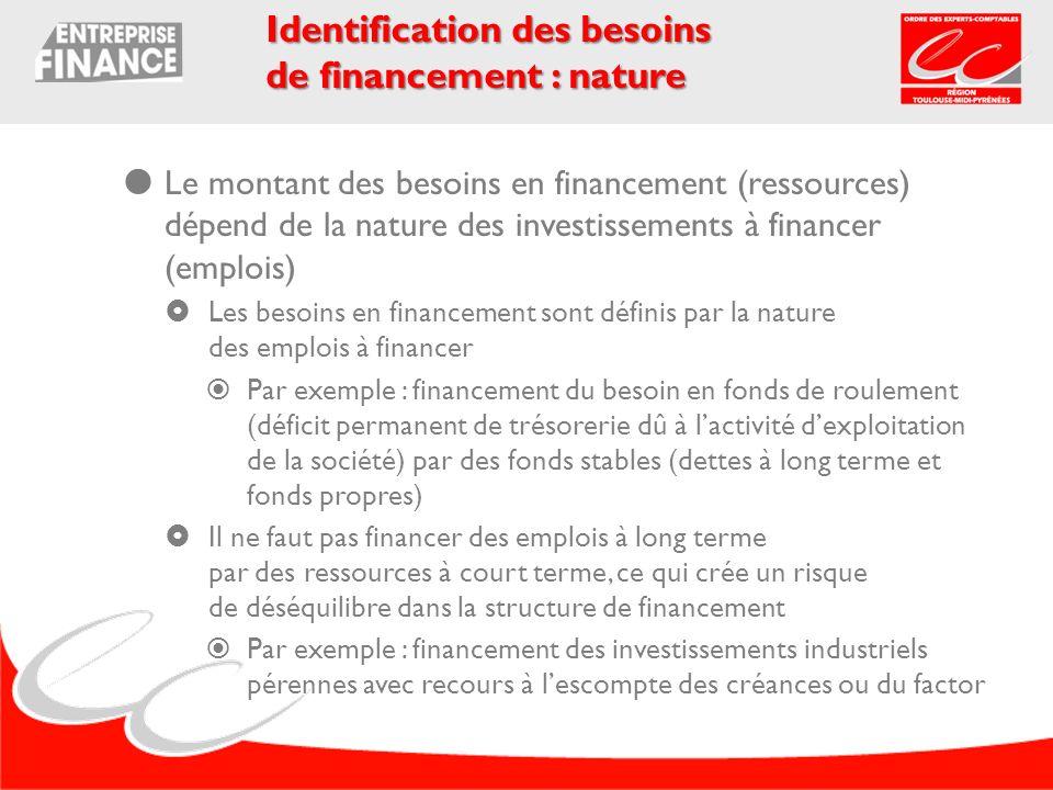 Identification des besoins de financement : nature