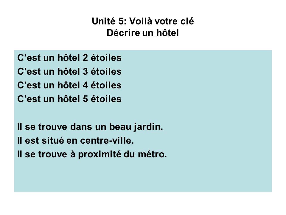 Unité 5: Voilà votre clé Décrire un hôtel