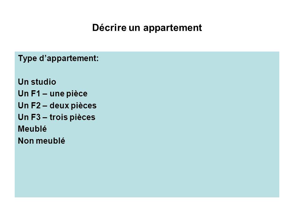 Décrire un appartement